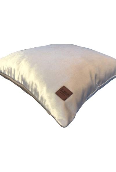 Arasta Design 2'li, Krem Rengi Kadife Düz Renk Kırlent KILIFI,43X43 cm
