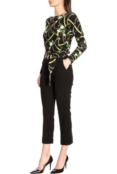 Belı Sal Desenlı Baglanan Siyah Pantalon