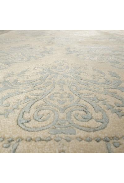 Halıcızade Krem Mavi Klasik Damask Tasarım Yün Bambu Pamuk El Dokuması 0565