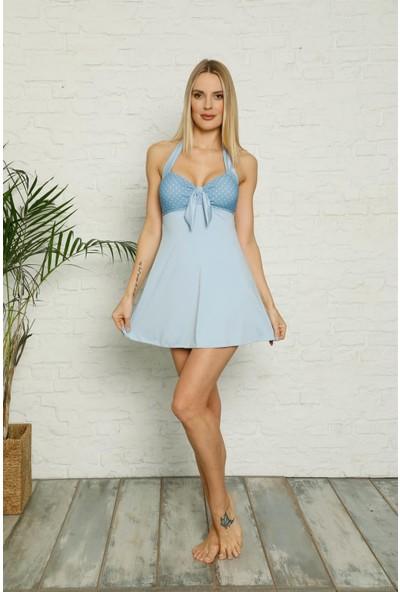 Akbeniz Şortlu Likralı Elbise Tesettür Mayo 28189