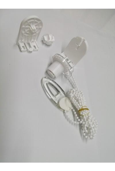 Oxford Perde Stor Perde - Zebra Perde Rediktör Mekanizması + Plastik Zincir + Yan Kapklar + Burç + Elçek Beyaz