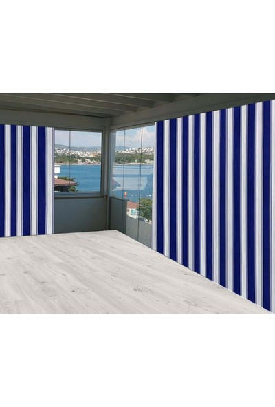 Ceylan Home Balkon Perdesi Brandası Mavi Kalın Çizgili 425X250 1 kg