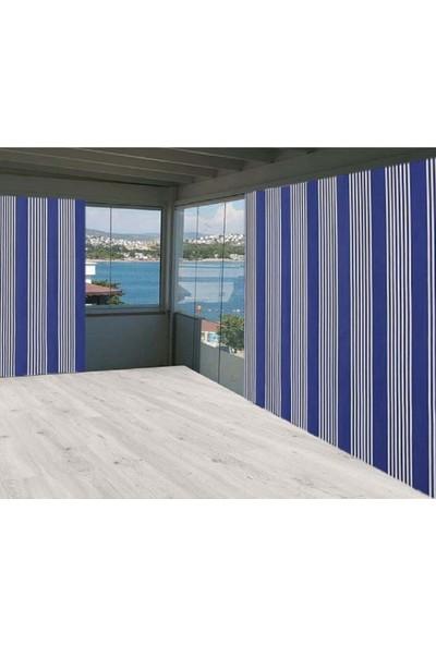Ceylan Home Balkon Perdesi Brandası Mavi Ince Çizgili 300X250 1 kg