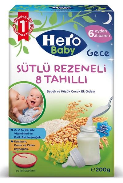 Hero Baby Gece Sütlü Rezeneli 8 Tahıllı 200 gr x 6 Adet