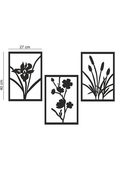 Berk Lazer Kesim Berklazer-3 Lü Dekoratif Çiçek Ahşap Tablo
