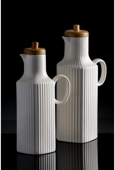 Acar La Pure 25/23 cm 2'li Bambu Kapaklı Çizgi Porselen Yağdanlık