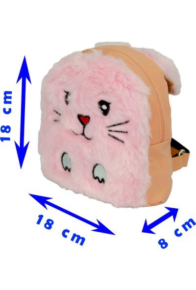 FRM Sevimli Tavşan Peluş Çocuk Mini Sırt Çantası PEMBE