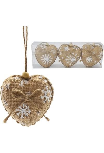 Pandoli Krem Renk Kar Taneli Jüt Kumaş Yılbaşı Ağacı Kalp Süsü 3 Adet 8 cm