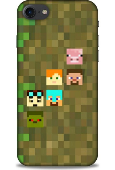 Lopard Apple iPhone 8 Uyumlu Kılıf Pixel (14) Lansman Kılıf Minecraft Karakterleri