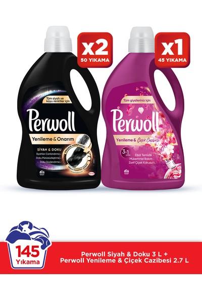 Perwoll Hassas Bakım Sıvı Çamaşır Deterjanı 3 x 3L (145 Yıkama) 2 Siyah + 1 Çiçek Cazibesi Yenileme&Onarım