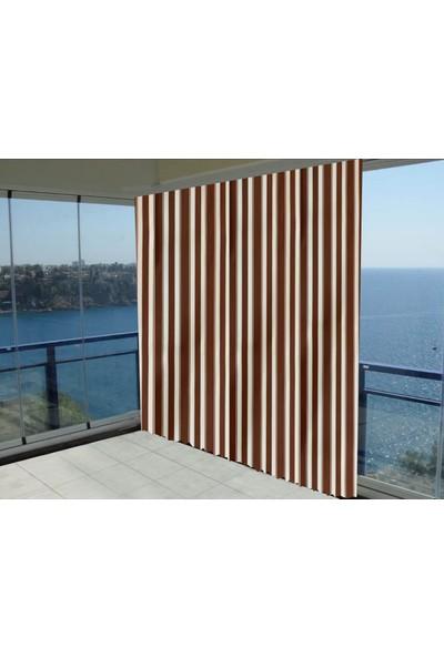 Evaşkım Balkon Perdesi Balkon Brandası Kahverengi_beyaz