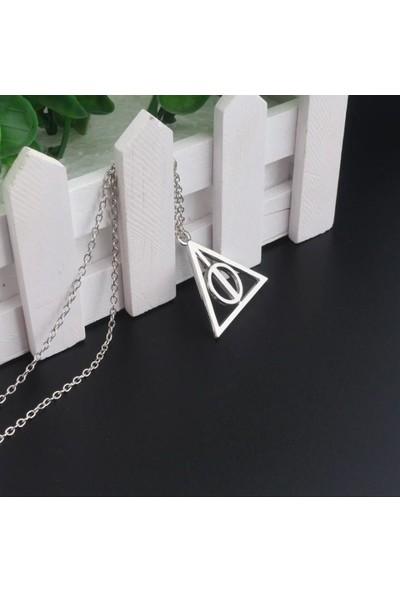 Alp Collection Harry Potter Ölüm Yadigarları Gri Üçgen Zincirli Metal Kolye