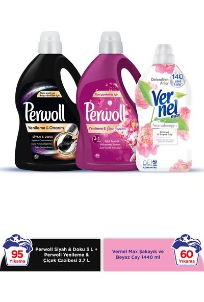 Perwoll Hassas Bakım Sıvı Çamaşır Deterjanı 2x3L (95 Yıkama) Siyah+Çiçek Cazibesi +Vernel Max 1440ml Şakayık