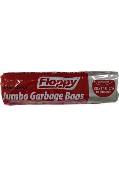 Floppy Endüstriyel Jumbo Boy Çöp Torbası Siyah 80 x 110 cm 10'lu 400 gr
