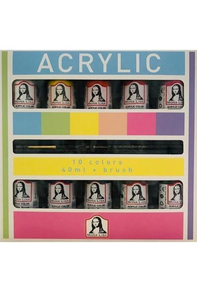 Mona Lisa Monalisa Akrilik 10 Renk x 40 ml + Fırça Set