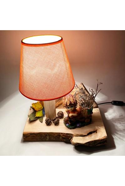 Yukon Natural Abajur Masa Lambası Gece Lambası Dekoratif Ahşap Lamba