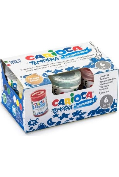 Carioca Tempera Parmak Boyası Süper Yıkanabilir 6 Renk x 25 ml