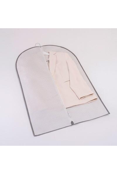 Ocean Home Gri Çizgi Desen Elbise Kılıfı 60 x 100