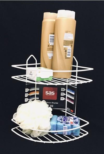 Sas Duş Rafı Şampuanlık 2 Katlı Plastik Kaplama Köşe Süngerlik Beyaz Ek-02