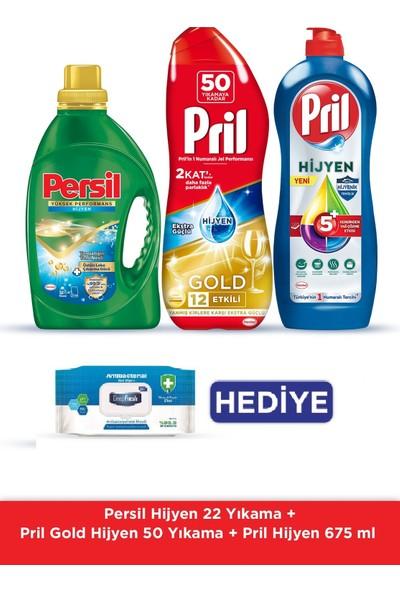Persil Sıvı Çamaşır Deterjanı Hijyen 22Yıkama+ Gold Hijyen 50 Yıkama + 675g Hijyen+56lı Antibakteriyel Mendil Hediye