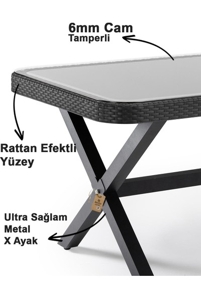 Tilia x Serisi Flash-R 6 Kişilik Rattan Desenli Bahçe Takımı