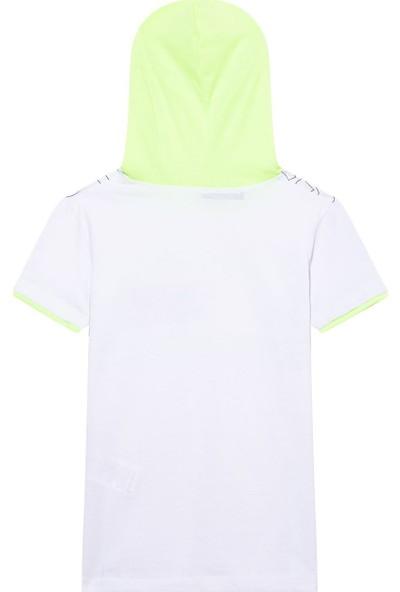 First Kids Nanu Beyaz Erkek Çocuk Kapşonlu T-Shirt