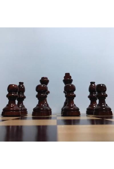 Yeni Satranç Ahşap Satranç Taşları ( Şimşir - 94 mm ) - Mdf Zemin