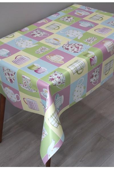 Dede Ev Tekstil Elyaf Silinebilir Pvc Muşamba Masa Örtüsü - Dekoratif Pembe Fincan