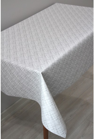 Dede Ev Tekstil Elyaf Silinebilir Pvc Muşamba Masa Örtüsü - Dumanlı Çizgi Gri