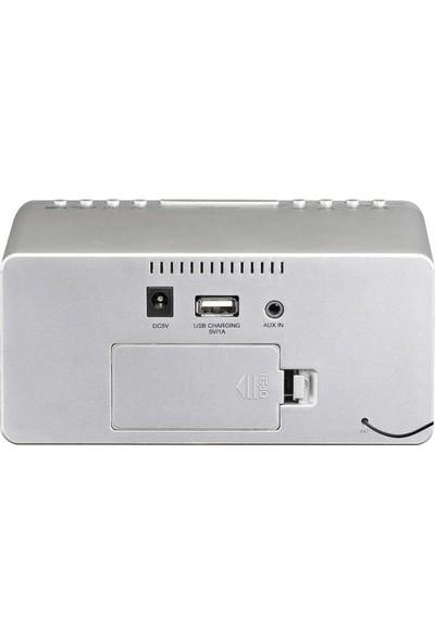 Lenco CR-520SI Stereo Saatli Radyo Alarmlı Usbli Çalar Saat Gümüş