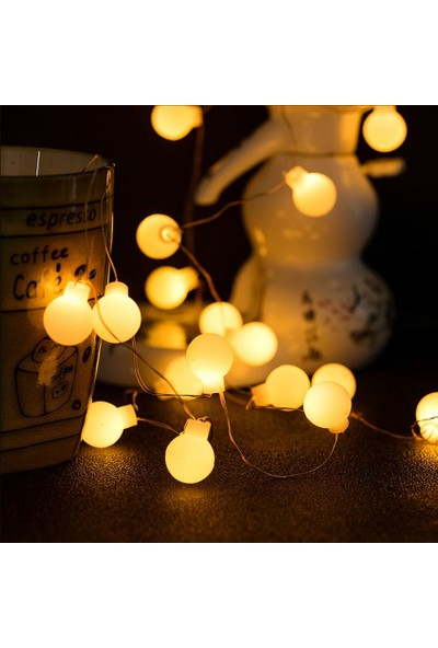 Top Pilli Yılbaşı Ağaç Bahçe Ip Süs 20 LED Işık 3m Gün Işığı Rgb