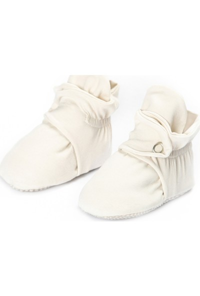 Ella Bonna Organik Pamuk Bebek Patiği, Kaydırmaz Taban, Pamuklu Yenidoğan Pandufu Ev Kreş Ayakkabısı