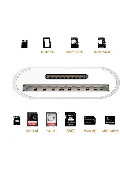 Daytona NK1022 Apple iPhone iPad Lightning To SD Camera Reader SD Micro SD Kart Okuyucu Kablo Adaptör-Beyaz