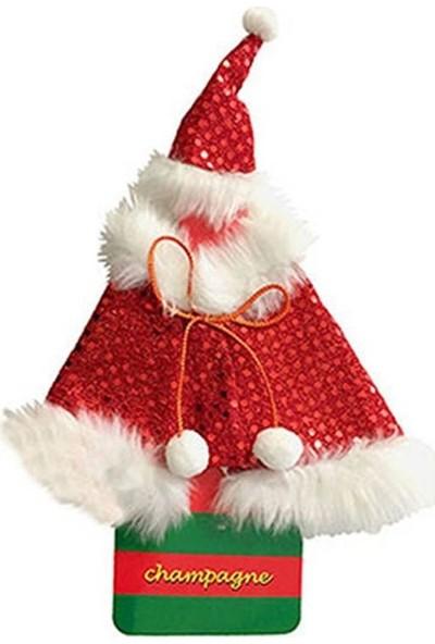 Pandoli Kırmızı Renk Noel Baba Pelerini Şeklinde Içecek Şişesi Kılıfı