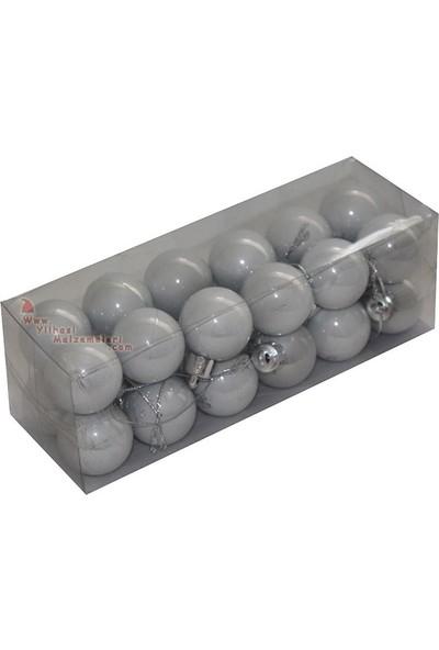 Pandoli Gümüş Renk Cici Top Süs 24 Adet Kutulu 3 cm