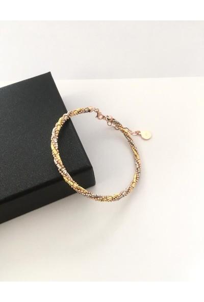 TMT Gümüş Rose Altın Kaplamalı Zincir Sarmal Dorika Dorissa Bilezik Bileklik