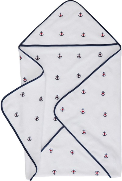 Soft Cotton Havlu Kundak Marine Girl Beyaz 80 x 80 cm