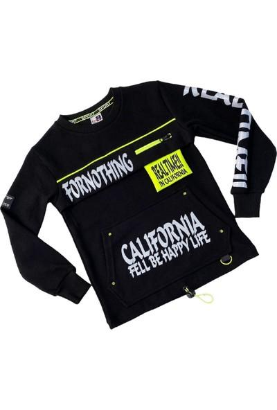 Beneti Erkek Çocuk Neon ve Cep Detaylı Siyah Sweatshirt