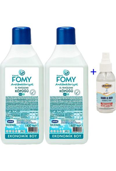 Peyderpeyi Fomy Hijyen Paketi Antibakteriyel Köpük Sabun 1800 ml 2 Adet + 100 ml Brava Dezenfektan