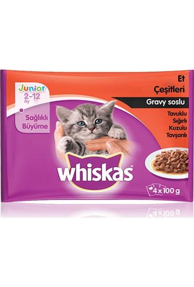 Whiskas Pouch Multipack Yavru Kedi Etli Konserve Mama Çeşitleri 4 x 100 gr