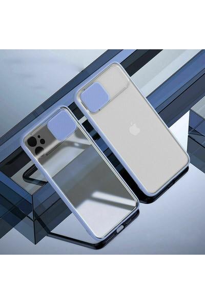 Kny Oppo Reno 3 Kılıf Renkli Silikon Kenarlı Sürgülü Buzlu Lensi Kapak+Nano Cam Ekran Koruyucu