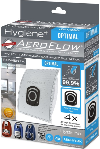Aeroflow Rowenta Hygiene RO6455EA / 410 Sılence Force Cleaner 4AAAA Toz Torbası