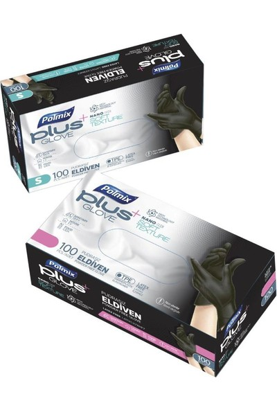Polmix Plus Siyah Glove Pudrasız Eldiven Nano Tech 100'LÜ Paket S