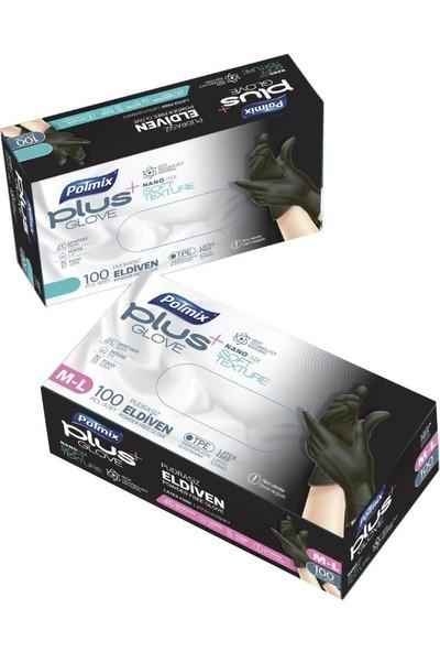 Polmix Plus Siyah Glove Pudrasız Eldiven Nano Tech 100'LÜ Paket M-L