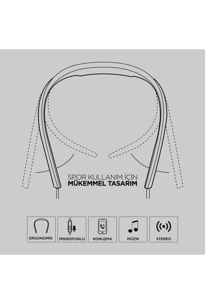 Polosmart FS05 Neckband Kablolu Spor Kulaklık