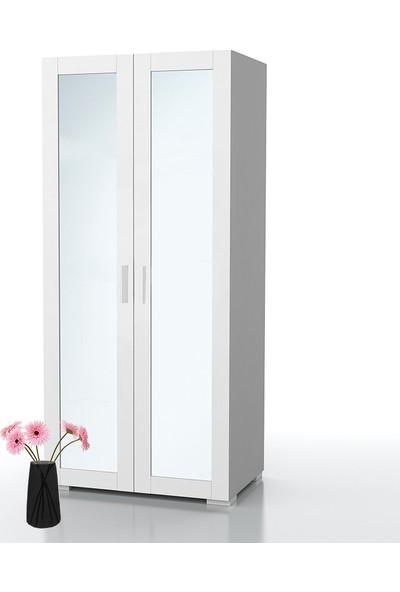 Dekorex MNT-212-A-BEYAZ -Iki Kapaklı Aynalı Gardırop