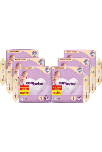 Canbebe Bebek Bezi Beden:1 (2-5kg) Yeni Doğan 480 Li Ekstra Fırsat Pk+Mendil
