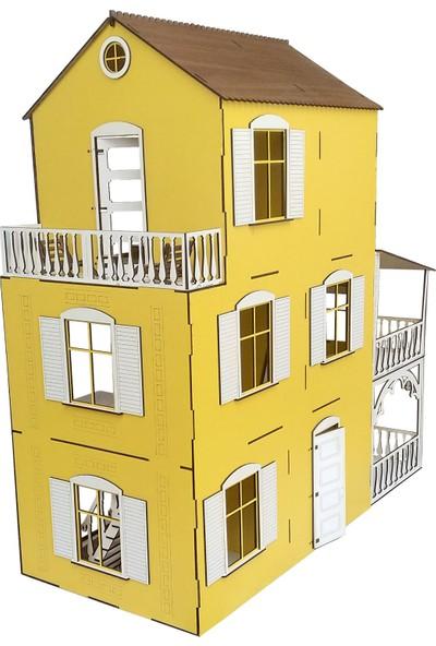 Alfagama Ahşap Oyun Evi 48 Parça Eşyalı Sarı Set 80 cm