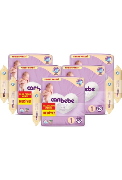 Canbebe Bebek Bezi Beden:1 (2-5kg) Yeni Doğan 400 Lü Mega Fırsat Pk+Mendil