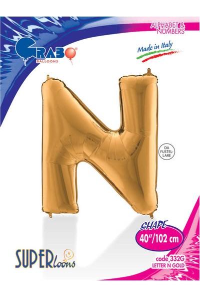"Harf Folyo Balon 40"" Altın -N-"
